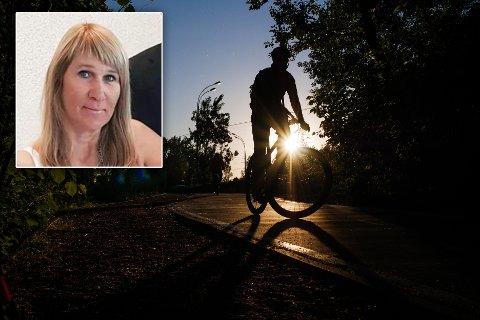 MÅTTE BRÅBREMSE: - Merethe Kjellmann forteller at hun klarte å reagere i tide, men at det var vanskelig å se syklisten i bekmørket.