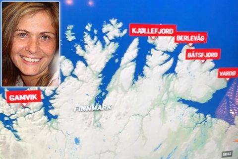 BOMMET: Tv2 bommet med over 40 mil da de plasserte Gamvik kommune feil på kartet under nyhetssendingen fredag kveld. Montasje.