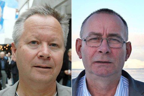 UTEN JOBB: Kåre Simonsen (Ap) og Jan Henrik Fredriksen (Frp) er to tidligere stortingspolitikere som får etterlønn. Montasje.