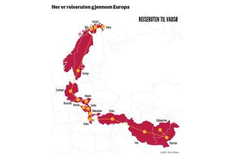 REISERUTEN: Detter er ruten mannen brukte for å komme til Norge.