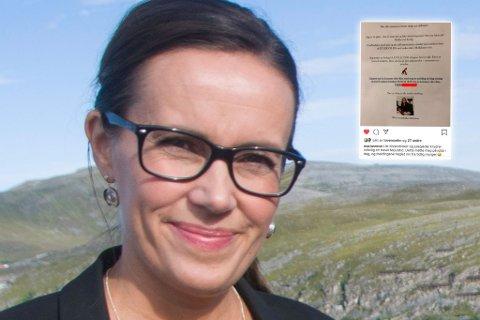 – TÅLER EN SPØK: Varaordfører Marianne Sivertsen Næss i Hammerfest ble møtt av en morsom lapp på rådhuset torsdag. Montasje.