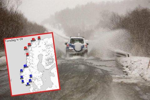 MILDVÆR: Torsdag og fredag er det plussgrader og mildvær stort sett i hele Finnmark, mens det sørpå florerer av minusgrader.