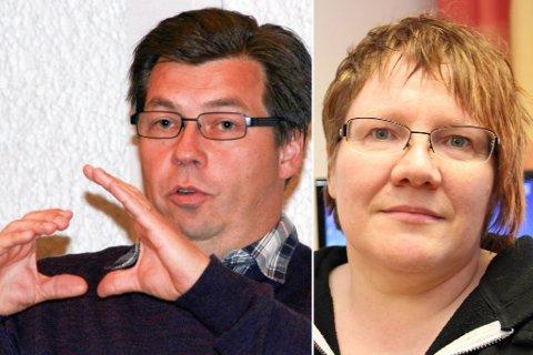 HENVISER TIL RÅDMANNEN: Kommunalsjef i Tana kommune for helse og omsorg, Anu Saari (t.h.), viser til rådmann i Tana kommune, Jørn Aslaksen (t.v.).