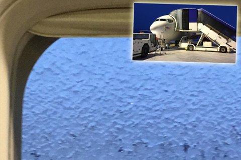IKKE SJANS: Avisingsmildet klarte ikke å få bort isen fra flyet.