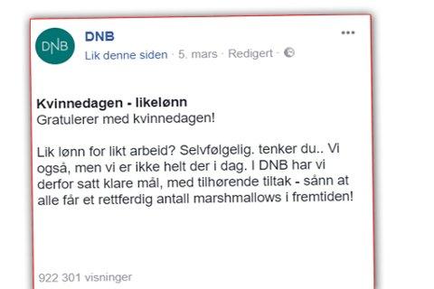 Skjermdump fra DNBs Facebook-side hvor de påstår at kvinner og menn ikke får lik lønn for likt arbeid.