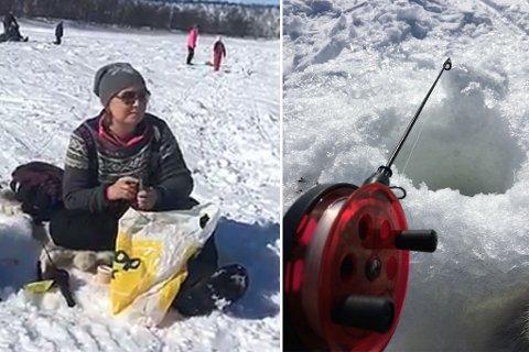 VANT PREMIE: Ann Kristin Holmestrand var blant vinnerne av fiskekonkurransen. Montasje.