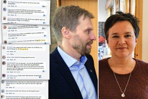 SKJEMMES: På Facebook hagler det hets mot Monica Mæland. Partileder Jo Inge Hesjevik (t.v.) i Finnmark Høyre mener fylkesordfører Ragnhild Vassvik (Ap, t.h.) bør beklage hetsen som kommer på nett mot kommunalministeren. Montasje.