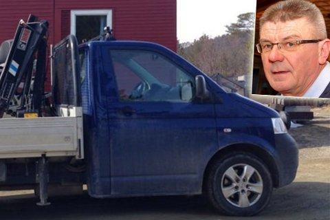 TYVERI: Denne blå lastebilen ble stjålet fra Tormod Svineng (innfelt) i helga.
