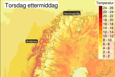 I Finnmark blir det ikke like varmt som i Troms, men meteorologene på Twitter mener at vi trolig ser 15–17 varmegrader.