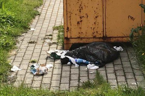 «SLUMOMRÅDE»: Avfall blir bare slengt her fordi søppelsekken ikke går oppi beholderen på grunn av smal åpning, ifølge Kai Hansen.