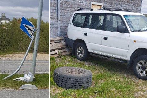 MATERIELLE SKADER: Her ligger trailerhjulet på gresset etter å ha forårsaket materielle skader, blant annet på veiskilt og gammel-lensmannens bil.