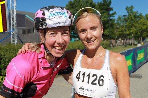 KLEM: Kristin Størmer Steira var en av de første gratulantene etter at lillesøster Bente hadde løpt inn til klasseseier i Birkebeinerløpet.