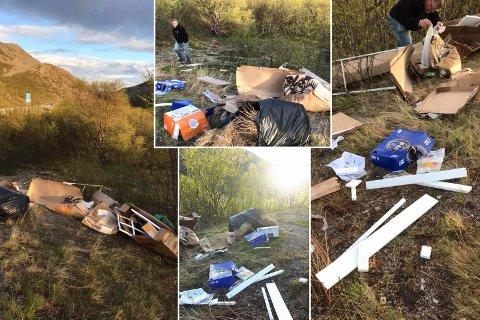 SØPPELDYNGE: Avfallet på vei mot Kirkenes var lett synlig fra veien. Roy Wara og Trude Brækkan dokumenterte funnet og bruker Facebook til å oppfordre synderen til å rydde før de går til politiet.