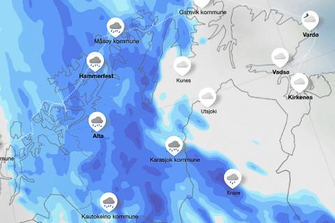 STORE MENGDER NEDBØR I VENTE: Fredag ettermiddag forventes det opp mot 50 millimeter regn med påfølgende fare for både jordskred og flom i Indre deler av Finnmark.