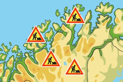 Flere veier meldes tidvis stengt grunnet vedlikeholdsarbeid. Illustrasjon: Stian Eliassen