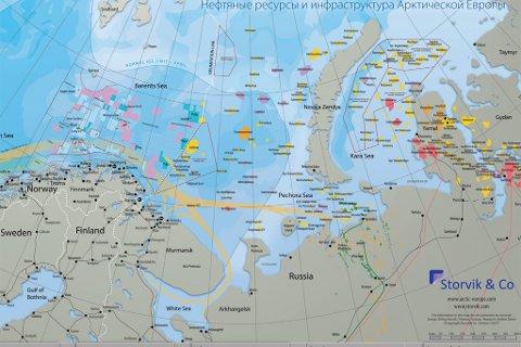 MOT RUSSEGRENSEN: Grenselinjen er markert med hvitre prikker. Inn mot dette området vil Solberg nå ha omfattende seismiske undersøkelser.