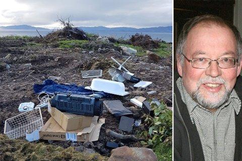 OPPRØRT: Kjell Magne Stålsett ble opprørt av synet som møtte han ved deponiet for hageavfall utenfor Vadsø. Noen hadde kastet fra seg både elektronikk og papp på plassen som kun er ment for hageavfall.