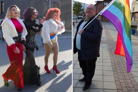 ENESTE: Jeg er den eneste homoen i byen, sa Knut Harald Eriksen (t.h.) og lo. Lørdag ble byen fylt av homofile. Montasje.