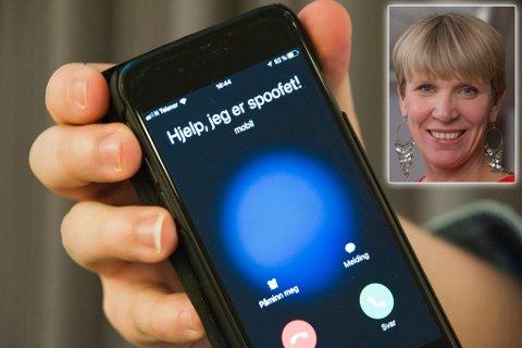 MISBRUKT: Arve Wikstrøm fra Vadsø måtte sperre mobilen sin. Telia Ellen C. Scheen (innfelt) i Telia sier at det er vanskelig å hindre spoofing. Montasje.