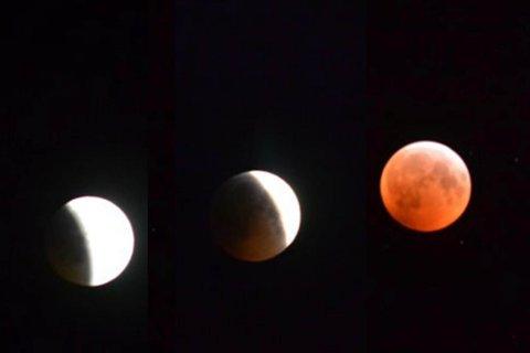 MÅNEFORMØRKELSE: Slik så det ut på himmelen over Finnmark mandag morgen mens månen gradvis ble formørket.