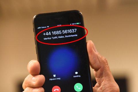 SVINDELFORSØK: Stedsnavn dukket opp da iFinnmarks journalist oppringt flere ganger i løpet av torsdagen. Politiets oppfordring er ikke å ta telefonen, og blokkere nummeret.