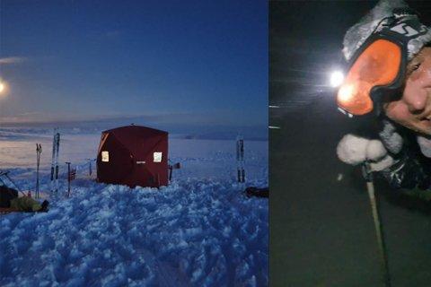 VÆRSKIFTE: Forskjellen på bildene er på bare noen timer. Tonny Fangsmann Lunnan og kompisen Roy Rasmussen hadde satt opp teltet og gjort seg klar for natten da vinden og snøfokken blåste opp. På bildet til høyre kan man se Roy Rasmussen forsøke å kjempe seg tilbake til bilen i sterk motvind.