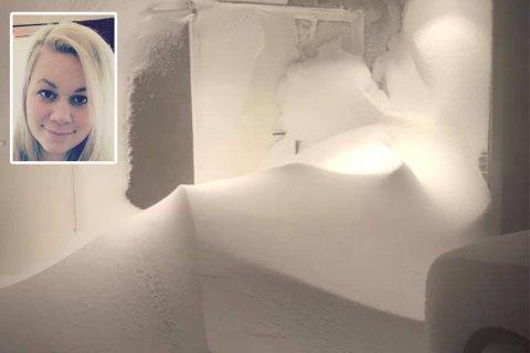 SNØFOKK: Her var det ikke mulighet å ta seg ut. Belinda Hay (innfelt) måtte gå ut på baksiden av huset.