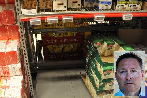 TOMT: Det er helt vilt lave priser for melis nå. Her er Coop Extra Elvebakken helt tom for melis.