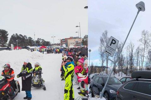 SNØCROSS: Det var godt med publikum på helgas NM i scootercross. Da parkeringsplassen åpnet igjen, kunne man se skjeve lyktestolper.