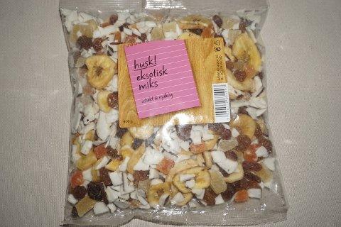 TRUKKET TILBAKE: Det er funnet salmonella i fruktblandingen «Eksotisk Miks». I forrige uke ble produktet trukket tilbake fra butikkene.