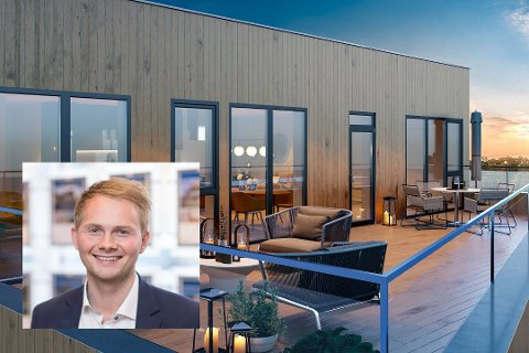 SOLGT: Eiendomsmegler Daniel Andre Adamsen (innfelt) har solgt toppleiligheten hos Altafjorden Panorama.