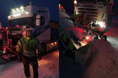 I ARBEIB: Jørn-Håvard Olsen (t.v) forteller at brøytebilsjåførene fredag kveld legger om til spissplog (bildet til høyre).