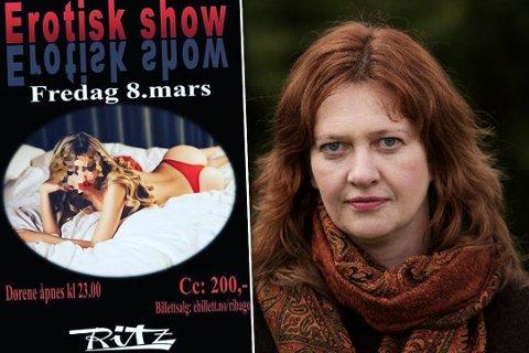 REAGERER: Ritz Kirkenes avholder et erotisk show på førstkommende lørdag 8. mars. Det får leder i Kvinnegruppa Ottar, Ane Stø til å reagere sterkt.