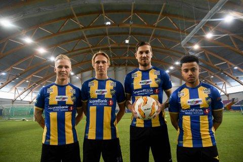 KLARE: Alta-spillerne Andreas Fossmo (fra venstre), Felix Jacobsen, Guyon Phillips og Kyle Spence er klare for 2019-sesongen.