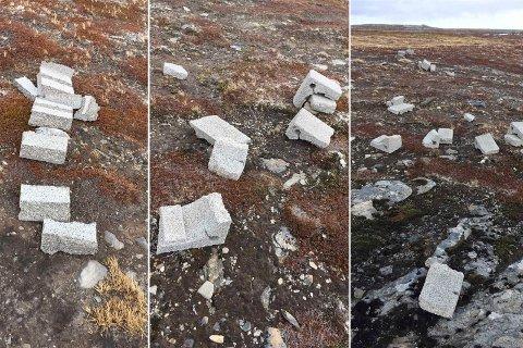 ØDELAGT: Disse steinene skulle brukes til å lage utvendig skorstein. Nå må Ruth Mikkelsen kjøpe nye og frakte de ut til hyttestedet.