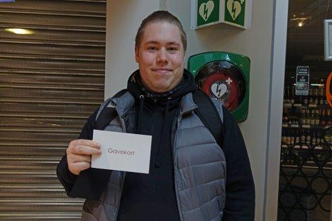 VANT: Martin Elvebakk vant et gavekort på 5.000 kroner.