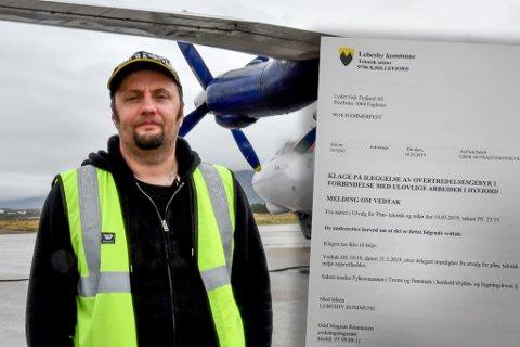 FIKK NOK: En bot på 50.000 kroner for ulovlig byggearbeid gjorde utslaget for Svein Vegar Lyder. Nå er han lei Lebesby kommune, og vil ta med all virksomhet til Gamvik. Ordføreren mener Lebesby har lagt til rette for selskapene hans, og mener Lyders harde ord er urettferdige.