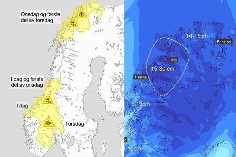 SNØ OG GLATTE VEIER: Det er ventet snø og vanskelige kjøreforhold i Finnmark de neste dagene.