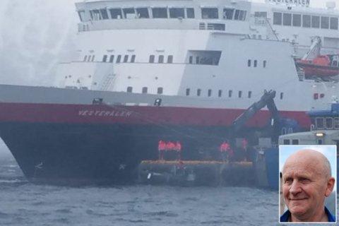 UHELL: Hurtigruta måtte få hjelp av kranbil for å få gjenstanden opp av sjøen, ifølge John Gunnar Broks (innfelt). Foto: Privat