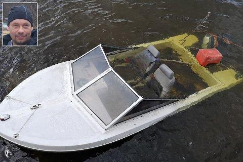 SANK: Båten til Stephan Guttormsen sank.