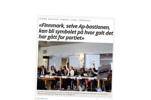 Faksimile av Arne Reginiussens kommenterer om meningsmålingen hvor Senterpartiet har passert Arbeiderpartiet som største parti i både Troms og Finnmark.