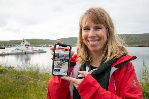 FORNØYD: Ansvarlig redaktør i Finnmarken, Anniken Renslo Sandvik, er strålende fornøyd med den nye iFinnmark-appen.