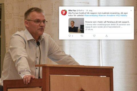 – TRASIG: Leder Odd Erling Mikalsen i Alta Frp synes det er trasig at det verserer en falsk profil i partiets navn, men er takknemlig for at mange har tatt kontakt med ham for å gjøre han oppmerksom på den. – Vi prøver å finne ut hvem som står bak, sier Mikalsen til iFinnmark.