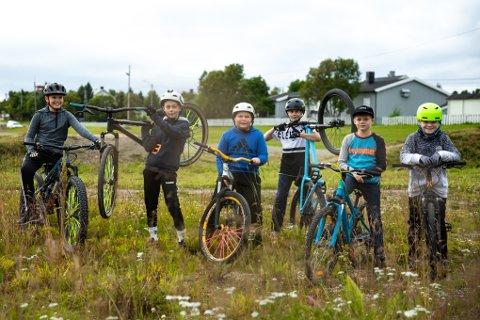 PÅ EN GJENGRODD SYKKELBANE: Fra venstre: Adrian Kristoffer Dahl (12), Brian Helander Helgesen (11), Preben Strømsør (13), Julian Utsi Onseng (13), Martin Mosan Jørgensen (10) og Sander Nikolai Johnsen (10).