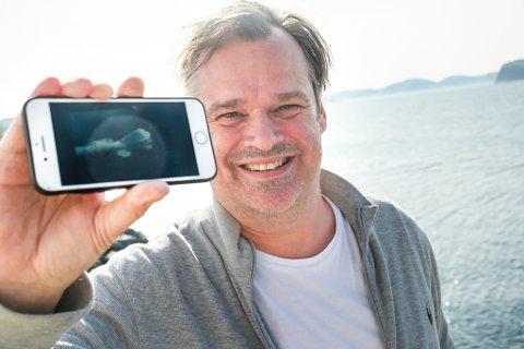 Fikk se hvalen: Thomas Lindgren opplevde Hvaldimir, bare to dager før han måtte reise sørover.