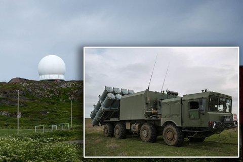 STÅR UTSATT TIL: Radaren som e-tjenesten driver i Vardø, og dårlig likt av russerne. De har tidligere varslet og simulert luftangrep mot byen. Nå har de satt et missilsystem knappe sju mil unna. Bildet av bal-missilsystemet er fra en russisk pressemelding.