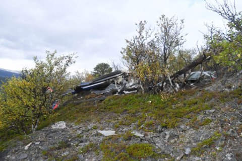 VRAKET: Her er vraket etter helikopterulykken på  Skoddevarre.