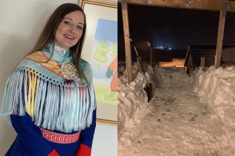 INNESPERRET: Mari Iren Pedersen Johansen har siden mandag vært innesperret i eget hus i Holmbukt. Slik ser det onsdag ettermiddag ut på trappa hennes.