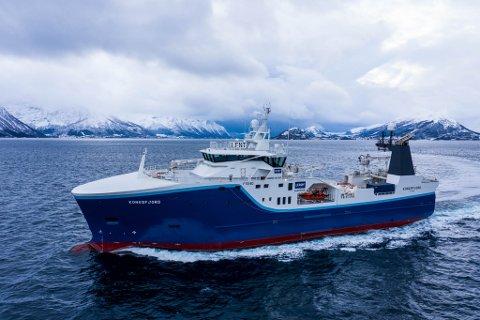 «Kongsfjord» : Denne tråleren er en del av flåten til Lerøy Havfisk.  Den har hjemmehavn i Båtsfjord, men fikk trøbbel i Rypefjord.