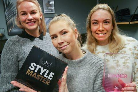 JUBEL: - Det ble vill jubel her på salongen da vi fikk vite at Marthe hadde vunnet, sier frisørkollegene Lene Charlotte Myrvang og Linn Jørgensen sammen med sin daglige leder Marthe i midten.